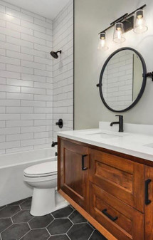 "Black Fox 8"" Hexagon Tiles on Bathroom Floor $19.99 Sq. Ft. Suggested Retail"