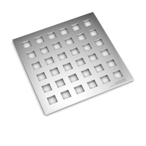 "Wedi Fundo Drain Cover Set - 4"" x 4"" Polished Chrome"