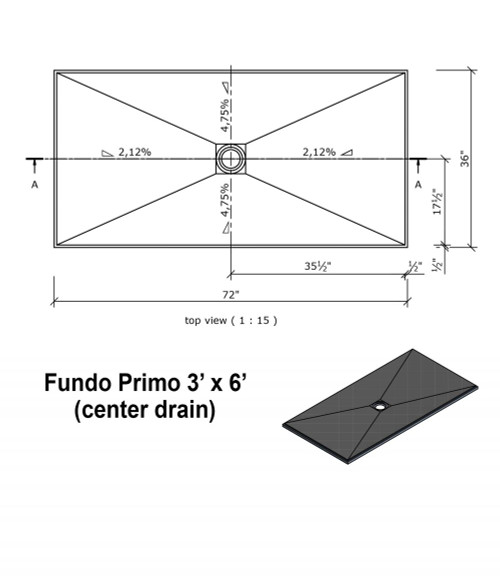 "Wedi Fundo Primo Shower Bases with Drain Assembly - 36"" x 72"" w/center drain"
