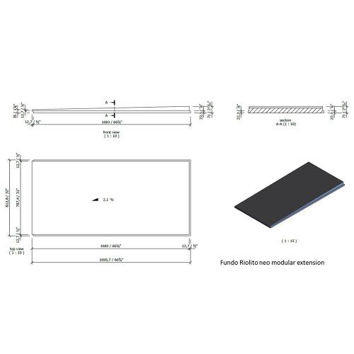 "Wedi Fundo Riolito Neo Modular Shower System - Base/Drain - 32"" x 66 3/4"" Extension"