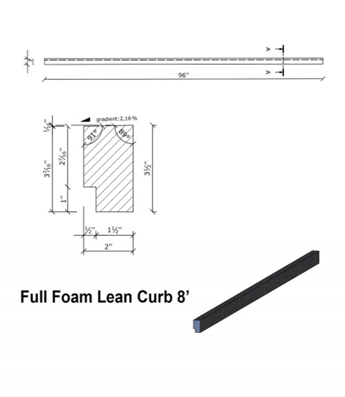 Wedi Full Foam Curbs - 8' Full Foam Lean Curb