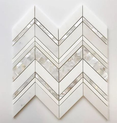 """Mother of Pearl Island Pearl Mosaic Tile (Thassos and Mother of Pearl Mosaic) 12""""×12.2"""" $59 Per Sheet Suggested Retail"""