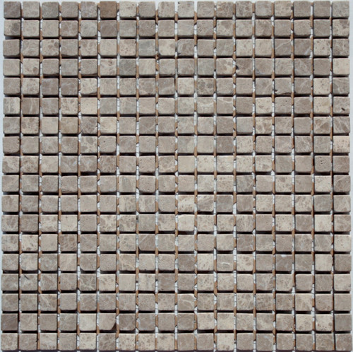 Emperador Light Tumbled  5/8x5/8 Mosaic Tiles