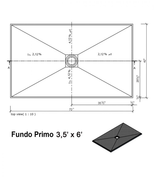 """Wedi Fundo Primo Shower Bases with Drain Assembly - 42"""" x 72"""" (073735528)"""