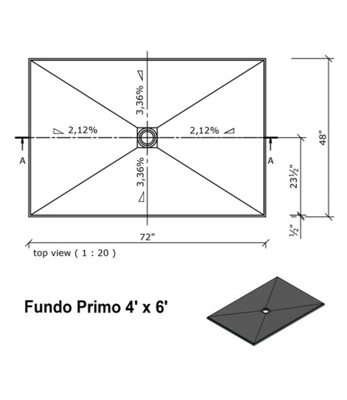 "Wedi Fundo Primo Shower Bases with Drain Assembly - 48"" x 72"" (073735508)"