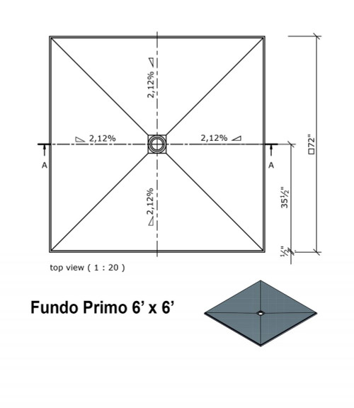 """Wedi Fundo Primo Shower Bases with Drain Assembly - 72"""" x 72"""" (073735524)"""