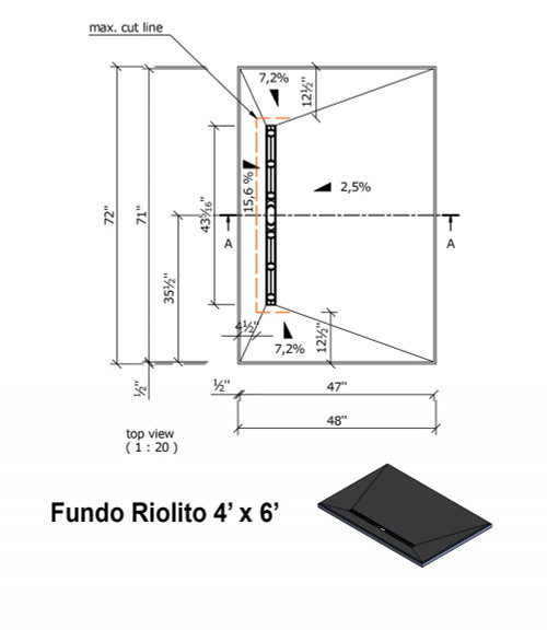 "Wedi Fundo Riolito Neo Shower Base & Drain Assembly - 48"" x 72"" x 2"" (four way slope) (075100014)"