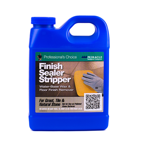 ABOUT FINISH SEALER STRIPPER Finish Stripper is a fast-acting, high potency stripper designed to remove exaggerated build up of wax finish or acrylic emulsions. Finish Stripper is recommended for removing High-loss Finish Sealer and Matte Finish Sealer when necessary. Finish Stripper is also an effective stripper for removing some epoxy grout films, heavy soil, dirt, tar, grease and other stains from porous surfaces.    WATER BASE STRIPPER FOR: • Tile• Granite• Concrete• Masonry Surfaces   SPECIAL FEATURES: • Fast-Acting• Easy-to-Use• No Strong Odor• Removes Epoxy Grout Film   COVERAGE: 200 - 300 square feet per gallon.   AVAILABLE SIZES Quart