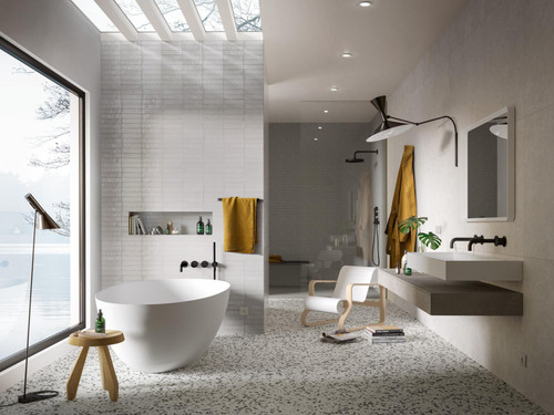 "Clay Collection Bianco 2 3/8""x 9 7/16"" $16.99 Sq. Ft. (Box Size 5.57 Sq. Ft. Per Box) Wall & Floor Tiles on Bathroom Wall"
