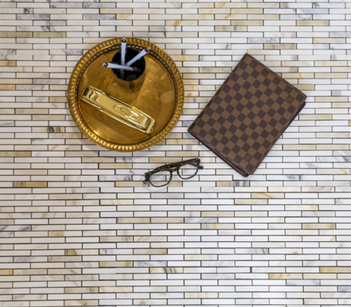 Calacatta Gold Honed 5/8x3 Brick Mosaic
