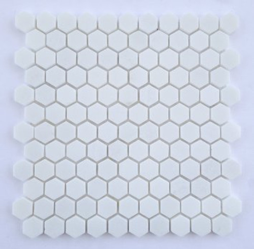 "Thassos Polished 1"" Hexagon Mosaic Tile on 12""x12"" Mesh"