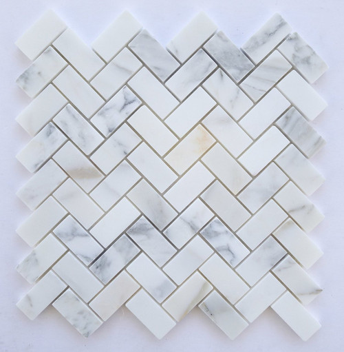 "Calacatta Gold Honed Herringbone Mosaic 12""x12"" Mesh"