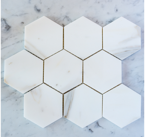 "Calacatta Gold Honed 3""  Hexagon Mosaic Tile on 12""x12"" Mesh"