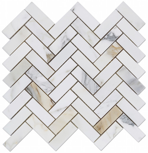 "Calacatta Gold Honed 1""x3"" Herringbone"