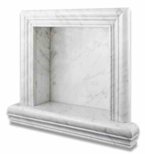 Italian Carrara White Marble Hand-Made Polished Shampoo Niche