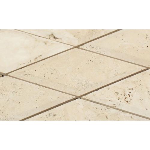 "Ivory Tumbled  6"" Diamond Tile"