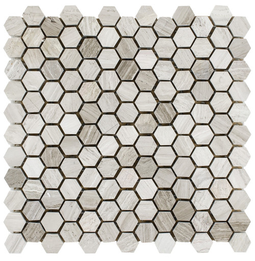 "Athen's Gray Honed 1"" Hexagon Mosaics"