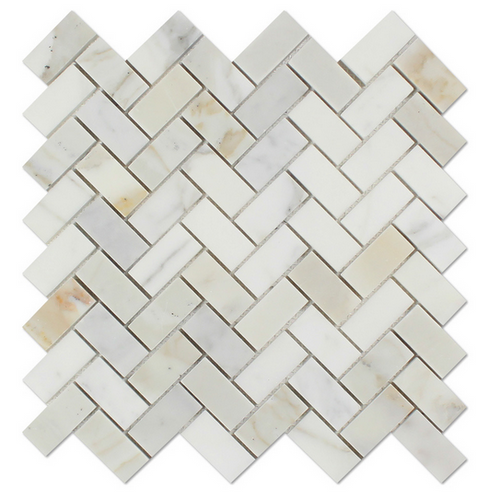 Calacatta Gold Italian Calcutta Marble Honed Herringbone Tile