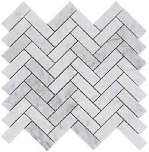 "Bianco Carrara Honed 1""x3"" Herringbone Mosaic"