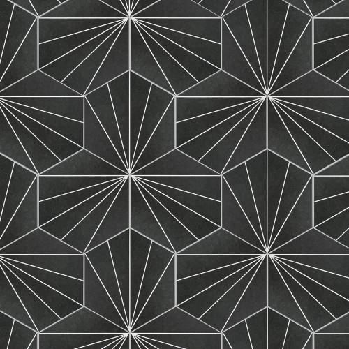 "Solstice Burst Black Hexagon Tile 8""x9"""