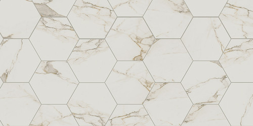 "Di Cava Calacatta 2x2 Square Mosaics, 4x12 Field, 3x12 Bullnose, 16""x14"" Hexagon Tiles, 4"" Hexagon Mosaics"