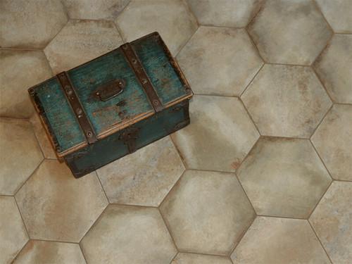 Castello Beige 12x24, 3x12 Bullnose, 4x12, 16x14 Hexagon Tiles, 2x2 Matching Mosaic