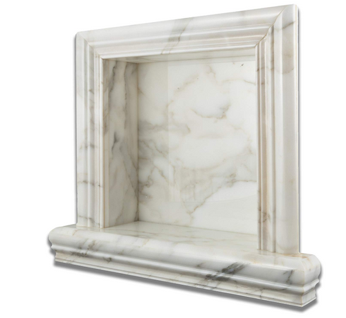 "Italian Calacatta Gold Marble Hand-Made POLISHED Shampoo Niche / Shelf - SMALL Surface Finish: POLISHED (Glossy, Shiny) External Dimensions (per piece): 17 3/4"" (Width) X 16 1/2"" (Height) X 4 1/4"" (Thickness / Depth) Back Opening (per piece): 11 3/4"" (Width) X 11 3/4"" (Height) X 3 1/2"" (Depth)"