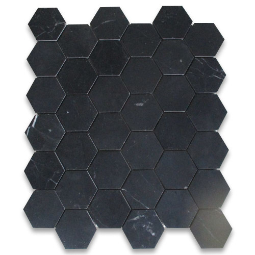 Nero Marquina Black Marble 2 inch Hexagon Mosaic Tile Honed
