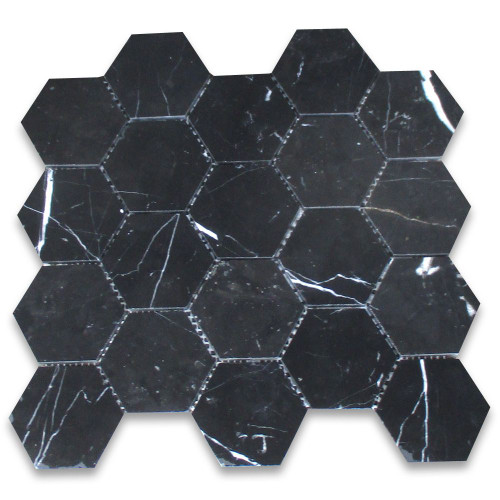 Nero Marquina Black Marble 3 inch Hexagon Mosaic Tile Honed