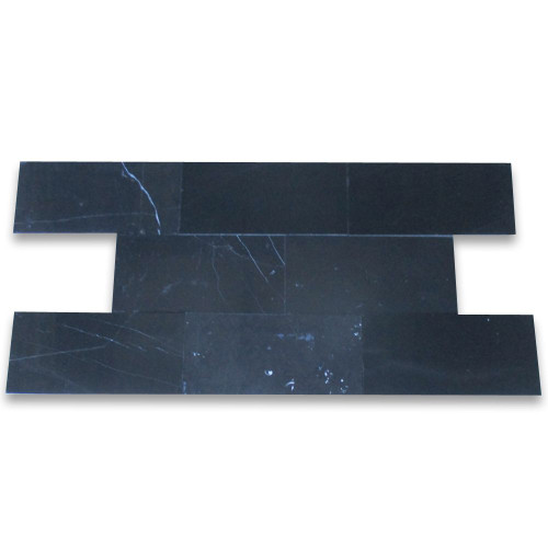 Nero Marquina Black Marble 3x6 Subway Tile Honed