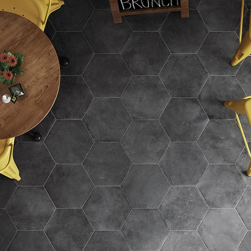 "Black Fox 8"" Hexagon Tiles (Sold in Cartons of 13 Sq. Ft. Per Box)"