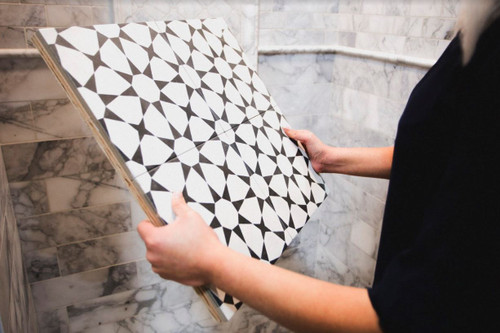 "Cuban White Star 9""x9"" Porcelain Tiles"