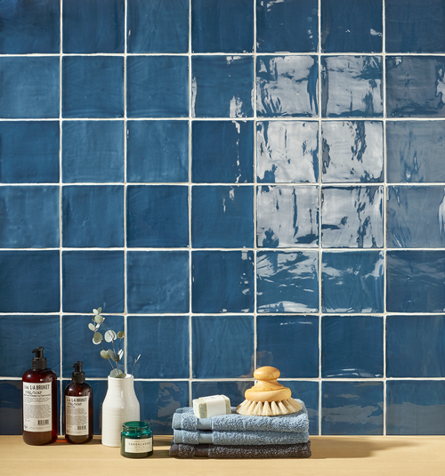 "Mediterranea Azul Gloss 5""x5"" Ceramic Wall Tile Closeup"