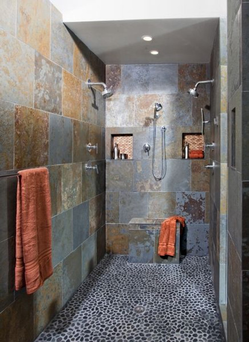 Brazillian Multi-Color 16x16 Slate Shower