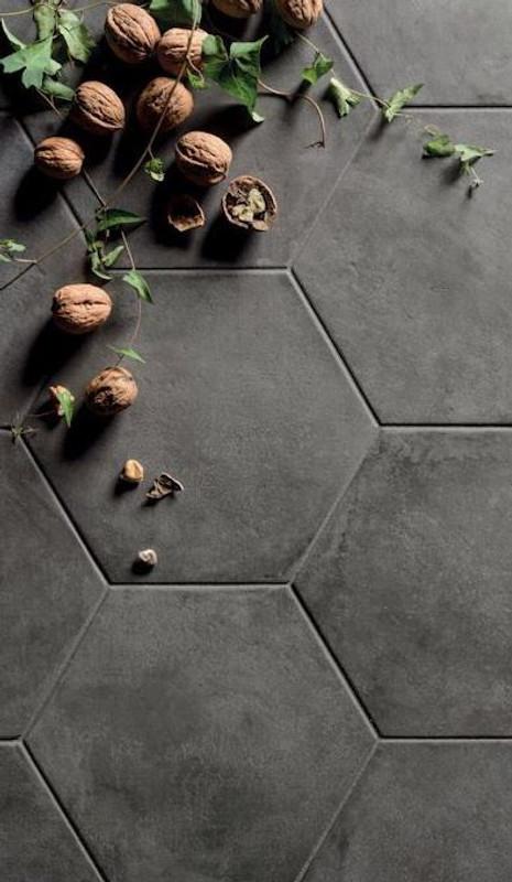 "Black Fox Porcelain 8"" Hexagon Matte Tile"
