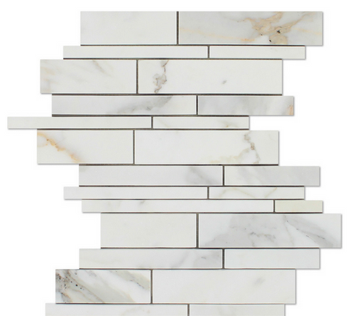 Calacatta Gold Italian Calcutta Marble Honed Random Strip Mosaic Tile 12x12 Sheets