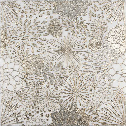 "Code: DAH GOLD Product Name: DAHLIA GOLD Material: ASHEN WHITE MARBLE Surface: Engraved/Rustic Silver Leaf Color: Gray  Sold by: piece  Sheet size: 12x12"" Packing: 5pcs/box Sq.ft/box: 5.00 Weight/sheet or sq.ft (tiles): 5.5"