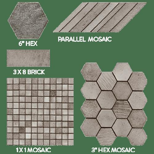 "Lava Wakari 1x1 Mosaic, 6"" Hexagon Tiles,"