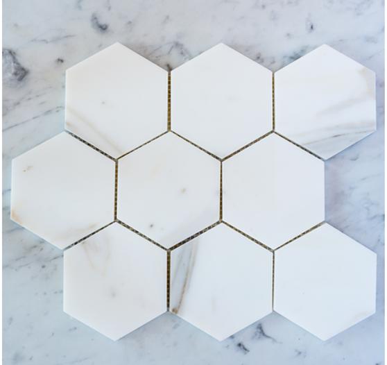 "Calacatta Gold Honed 3""  Hexagon Mosaic Tile on 12""x12"" Mesh"