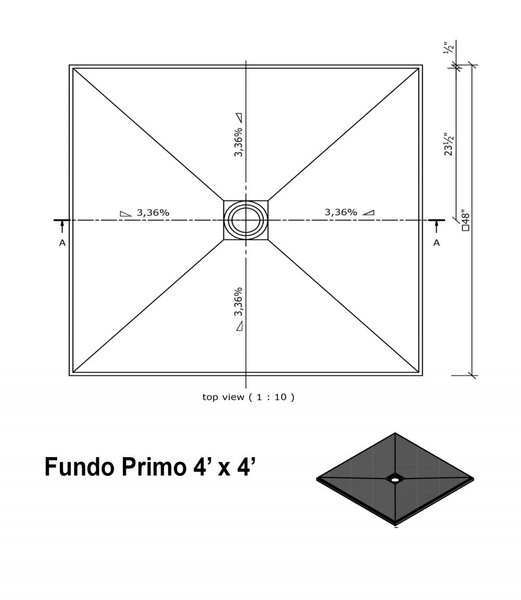 "Wedi Fundo Primo Shower Bases with Drain Assembly - 48"" x 48"""