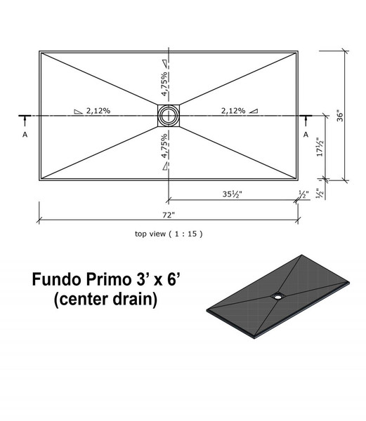"""Wedi Fundo Primo Shower Bases with Drain Assembly - 36"""" x 72"""" w/center drain"""