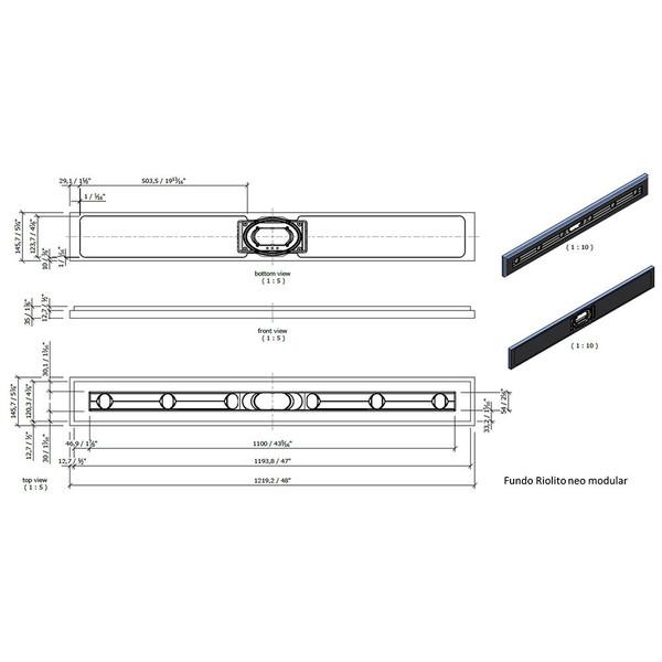 "Wedi Fundo Riolito Neo Modular Shower System - Base/Drain - 48"" x 5-3/4"" Drain Module"