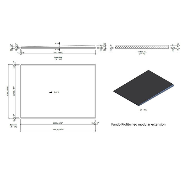 "Wedi Fundo Riolito Neo Modular Shower System - Base/Drain - 48"" x 66 3/4"" Extension"
