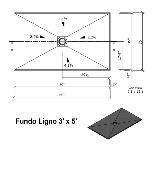 """Wedi Fundo Ligno Curbless Shower Pan (Base) with Center Drain - 36"""" x 60"""" x 3/4"""""""