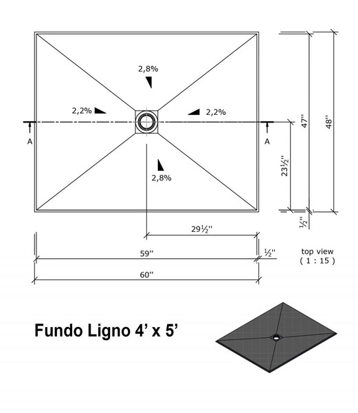 """Wedi Fundo Ligno Curbless Shower Pan (Base) with Center Drain - 48"""" x 60"""" x 3/4"""""""