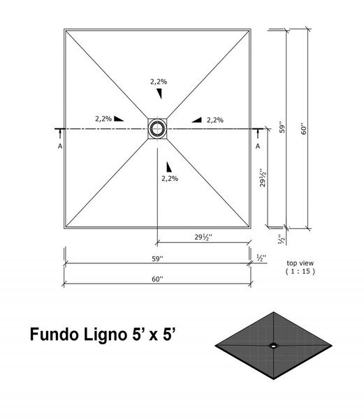 """Wedi Fundo Ligno Curbless Shower Pan (Base) with Center Drain - 60"""" x 60"""" x 3/4"""""""