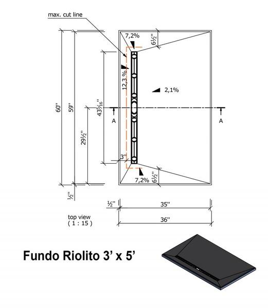 "Wedi Fundo Riolito Neo Shower Base & Drain Assembly - 36"" x 60"" x 2-3/8"" (four way slope) (075100016)"
