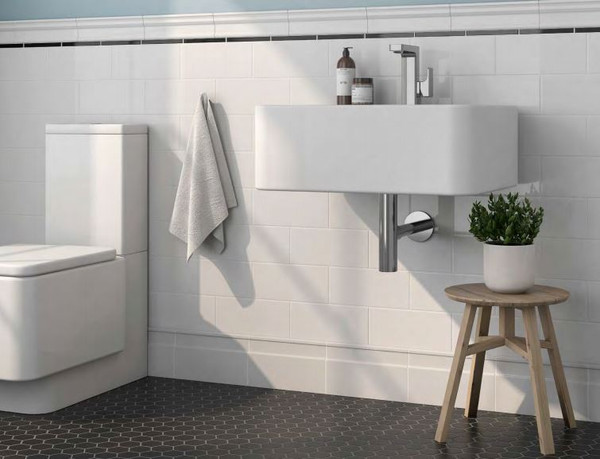 Color Collection Ice White Gloss 4x10 Ceramic Tile