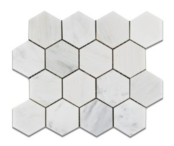 "Ocean White 3"" Honed Hexagon Mosaic 12""x12"" Mesh"