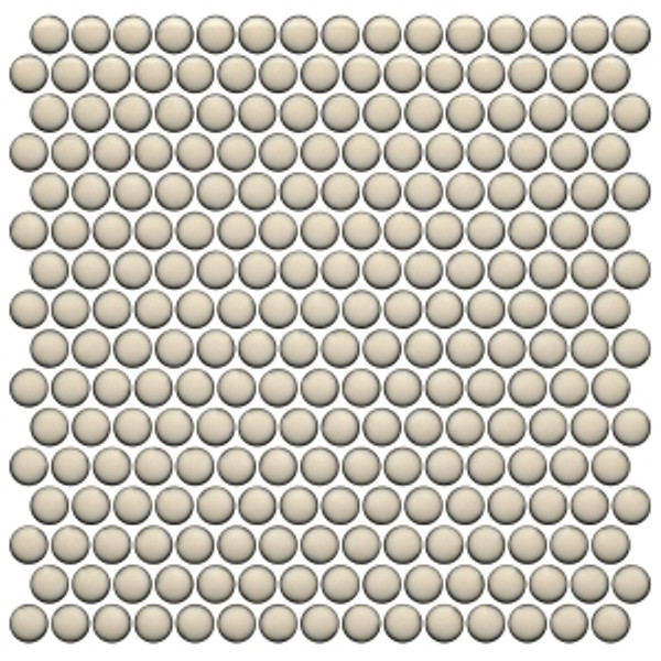 Cream Bright  12×12 Penny Round Mosaic